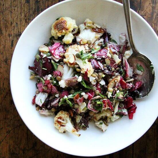 Lentil Salad with Roasted Cauliflower, Radicchio, Walnuts & Goat Cheese