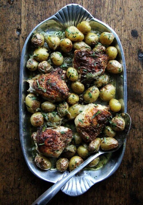 With five minutes of prep you can have this one-pan chicken with potatoes and tarragon ready for the oven, and the result—incredibly juicy, evenly browned chicken plus well-seasoned potatoes showered with tarragon—will have you marveling. This dish is a small miracle. // alexandracooks.com