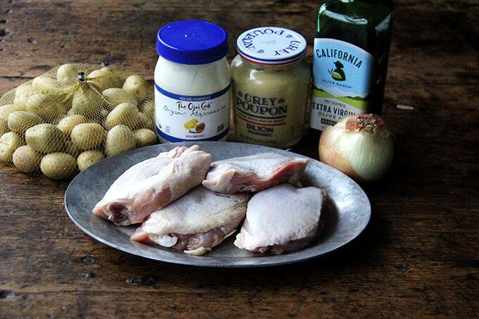 The ingredients to make sheetpan roast chicken and potatoes.