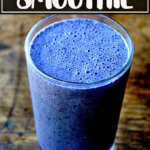 Blueberry-almond smoothie in a glass.