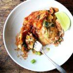 A bowl of no-fuss, chicken enchilada casserole.