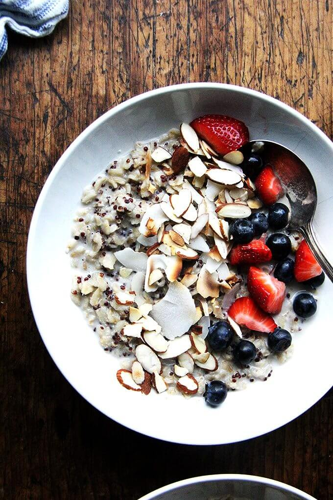 I've been making this oat and quinoa porridge nearly every morning for breakfast since learning the recipe, and while it's a bit more work than other cooked-from-scratch hot breakfast cereals, it's well worth the effort. An aromatic, light but satisfying, perfectly sweet porridge that comes together in a snap. // alexandracooks.com