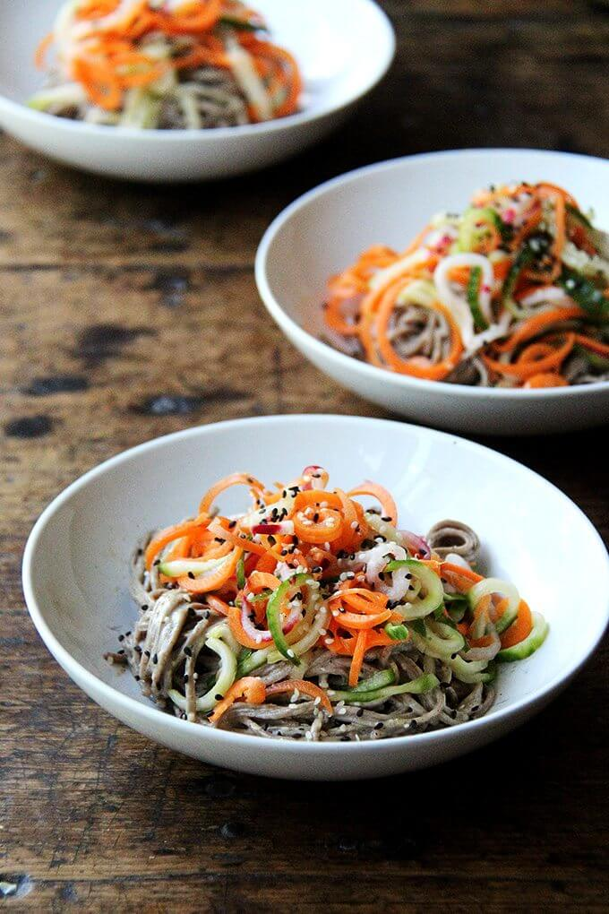 This recipe for almond-sesame soba noodles with quick-pickled vegetables is really fun and super easy. It's also a good one to rely on in thesummer — it's so refreshing — and, if you subscribe to a CSA or tenda prolific garden, it makes great useof all of those carrots, cucumbers, and radishes you may find yourself up to your eyeballs in. // alexandracooks.com