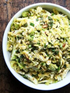A bowl of Cabbage Slaw with Miso-Carrot Dressing