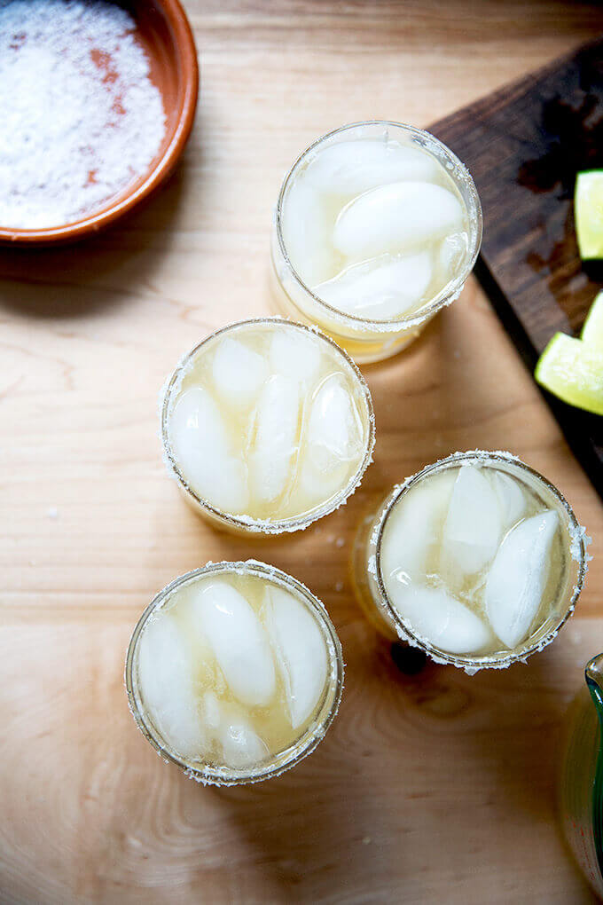 Classic margarita with tequila and lime.