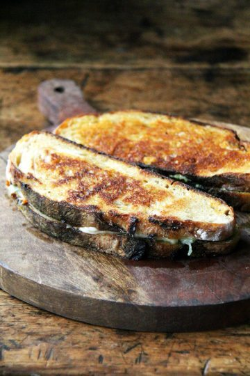 'Nduja Grilled Cheese with Wisconsin Fontina & Basil Pesto