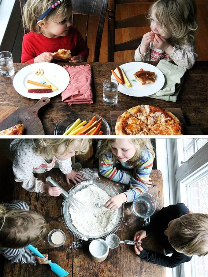 A montage of images of children eating and making skillet pizza.