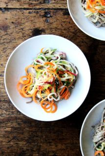 Almond-Sesame Soba Noodles with Quick-Pickled Vegetables
