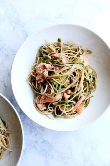 Ginger-Sesame Soba Noodles with Cedar Plank Salmon