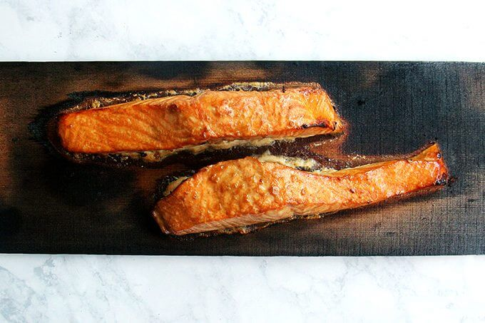 Cedar-planked salmon, just grilled.