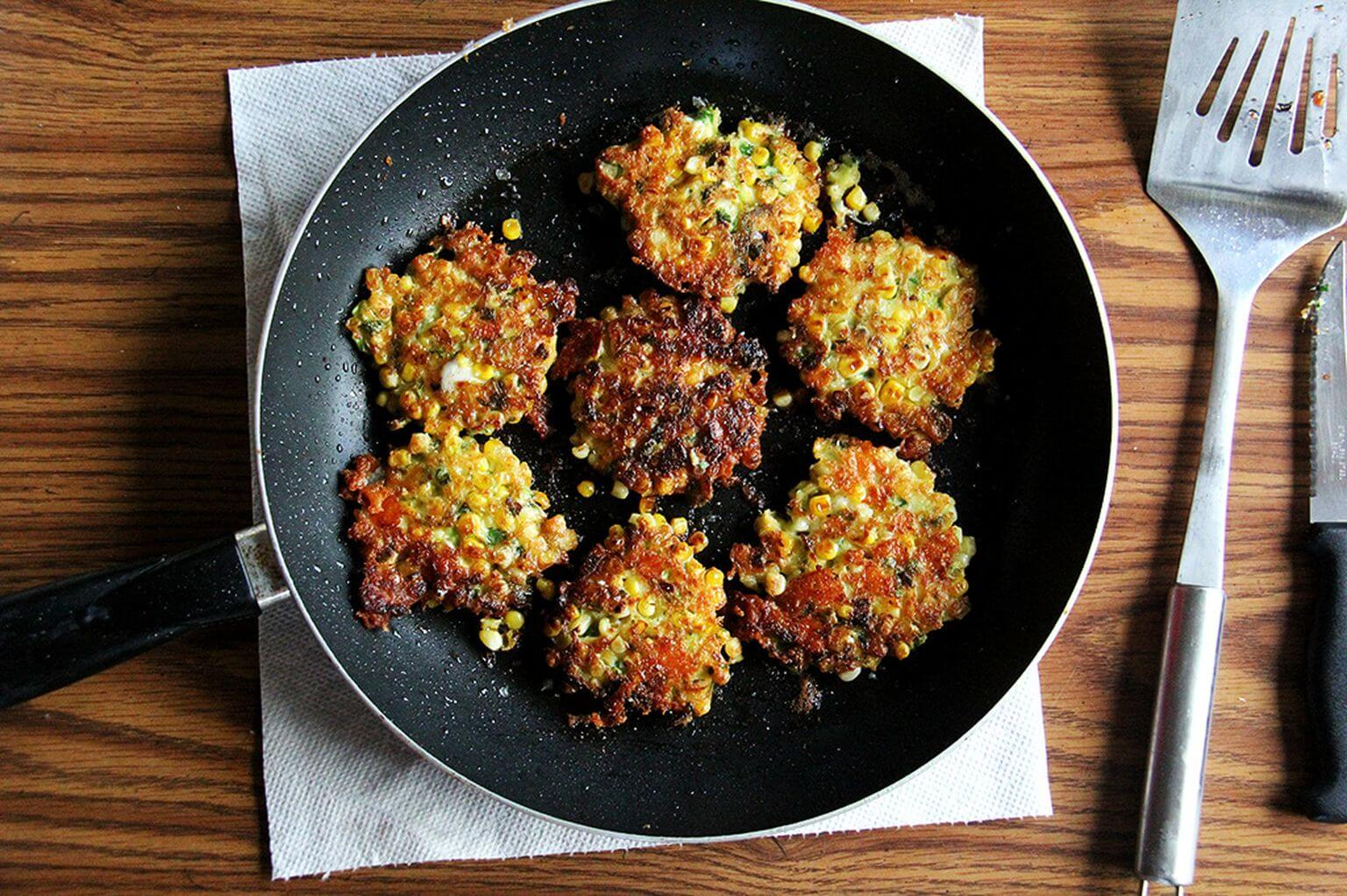 corn fritters in pan
