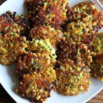 A platter of corn fritters