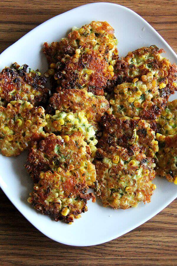 A platter of corn fritters