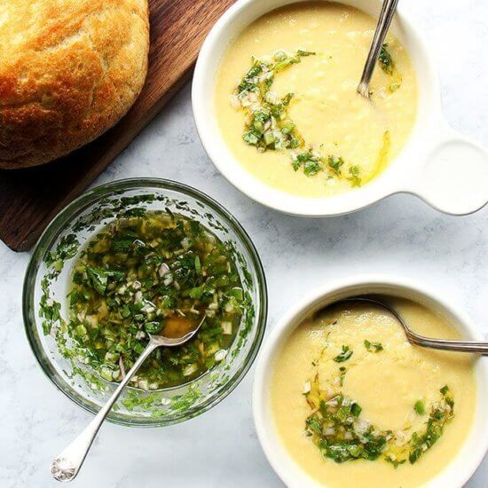 Five-Ingredient Corn Soup with Herb Salsa