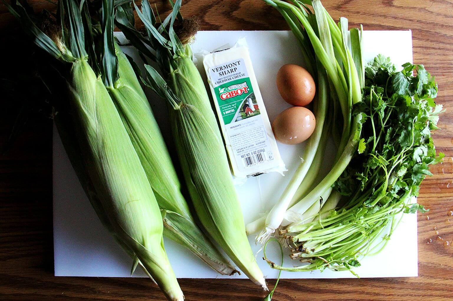 Ingredients for corn fritters.