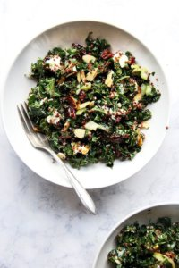 This kale and quinoa salad has a lemony-mustard dressing, dried cranberries that plump with the cooked quinoa, crisp celery, toasted almonds, and goat cheese. It comes together in a snap and has been a welcomed addition to the summer salad rotation. It also keeps well in the fridge for days, making it perfect for lunch-on-the-go or a picnic at the beach. I find it irresistible, and while it's a great side salad, it's nearly a meal in itself. // alexandracooks.com