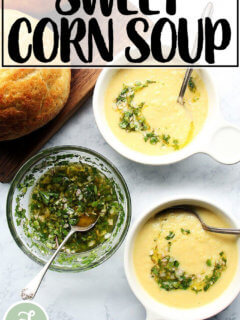 A bowl of sweet corn soup.