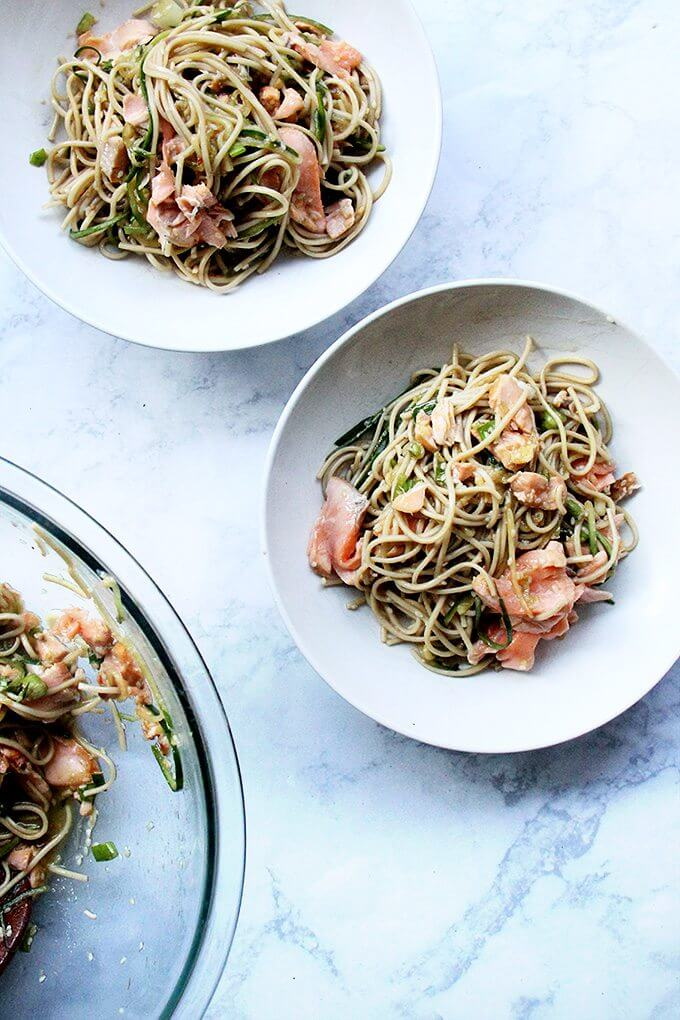Bowls of ginger-sesame soba with salmon.