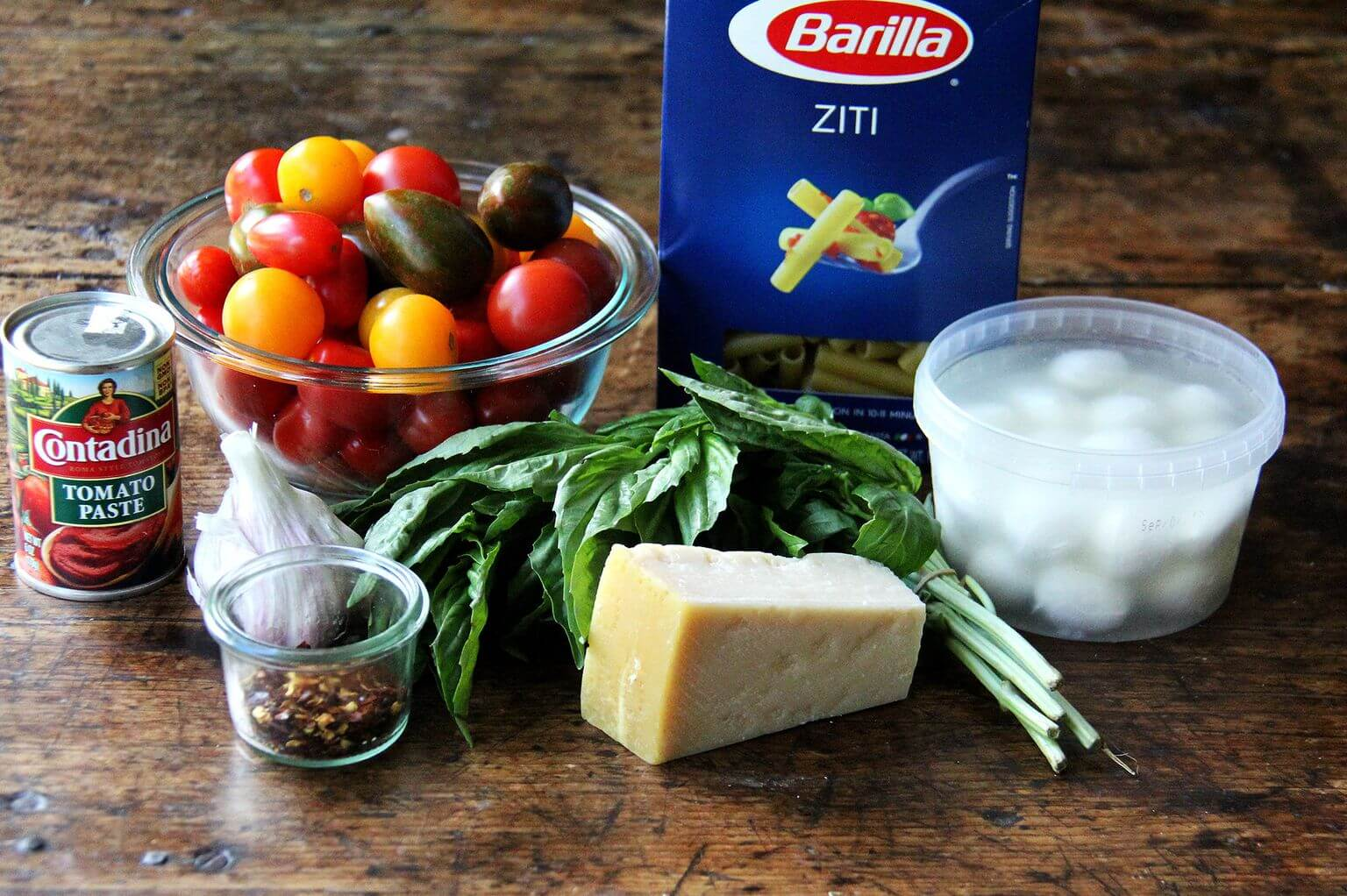 Ingredients for one-pot baked ziti.