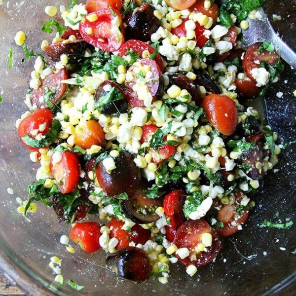 Mark Bittman's Raw Corn Salad with Tomatoes, Feta, Basil & Mint