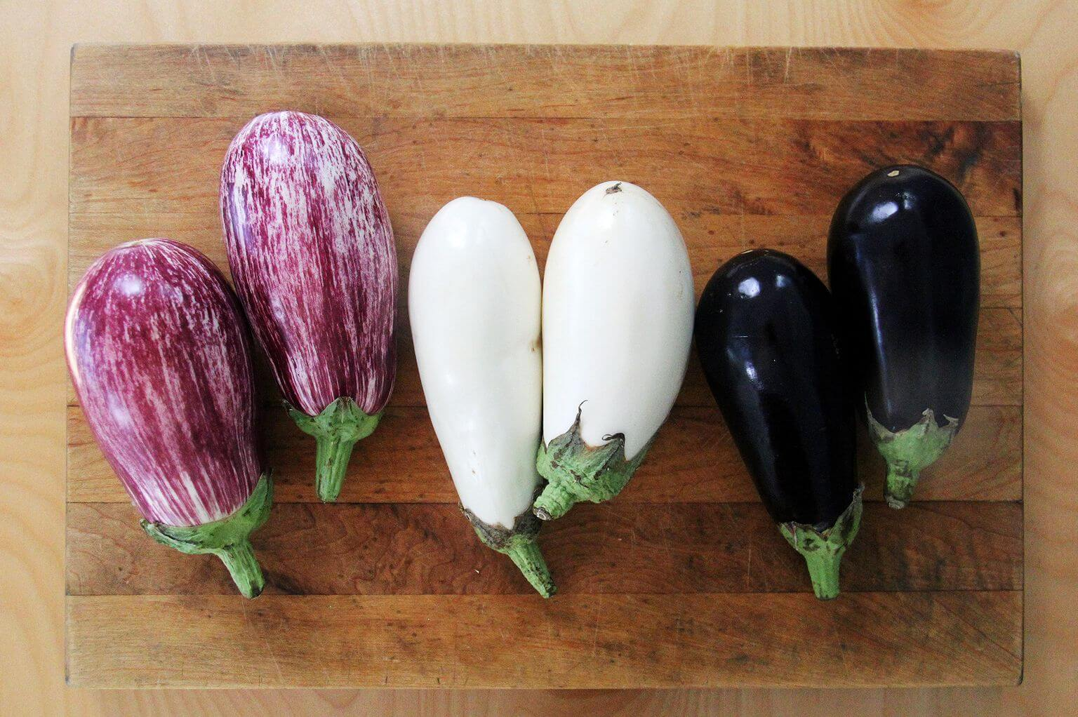 Eggplant on a board.