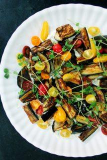 Roasted Eggplant Salad with Cucumber-Yogurt Sauce and Tomatoes