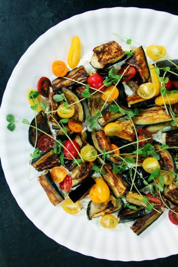 Roasted Eggplant Salad with Cucumber-Yogurt Sauce and Tomatoes