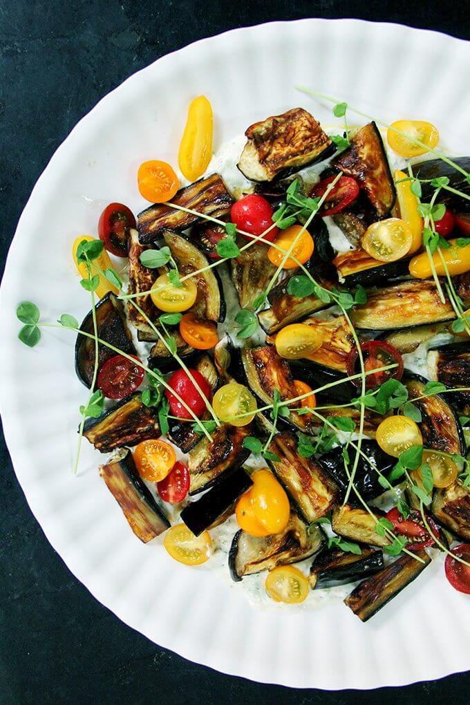 This roasted eggplant salad is the perfect summer meal: vegetable driven, bright, colorful, minimal fuss. With fresh bread and a few cheeses, dinner is done. // alexandracooks.com