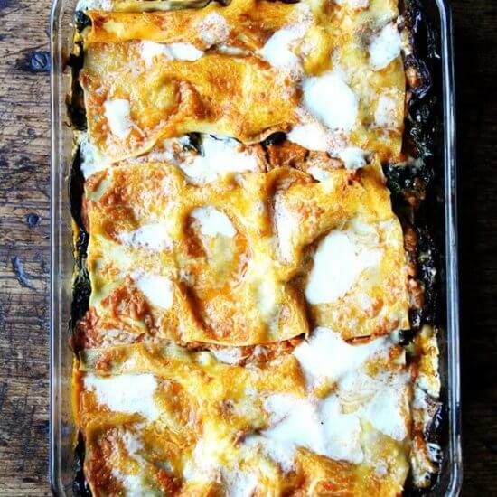Roasted Eggplant and Sautéed Swiss Chard Lasagna