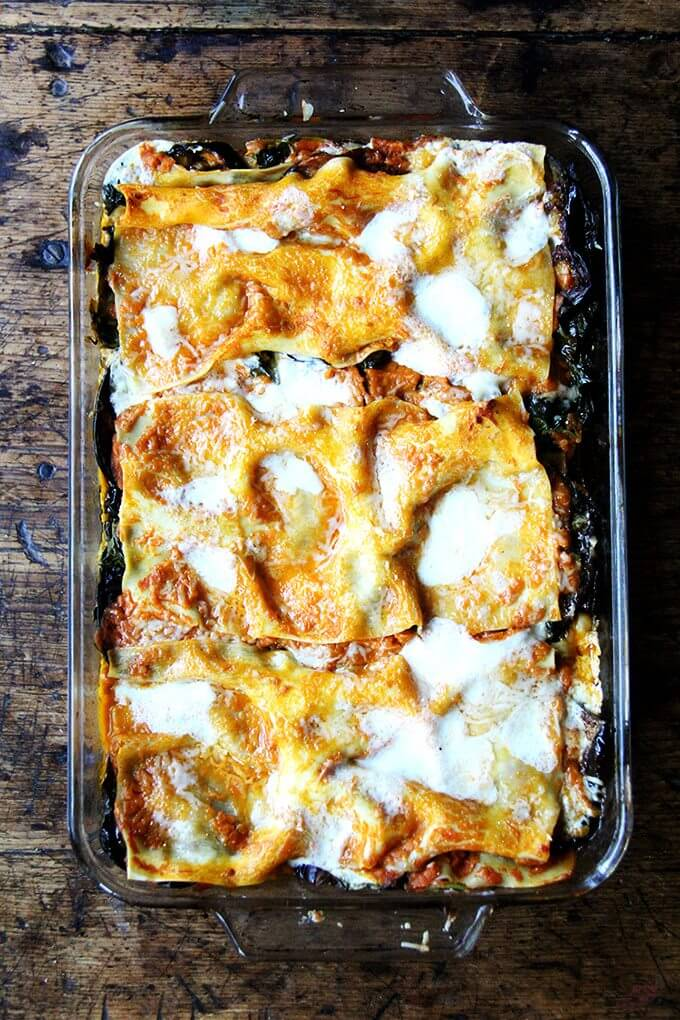 A pan of just-baked eggplant and Swiss Chard lasagna.