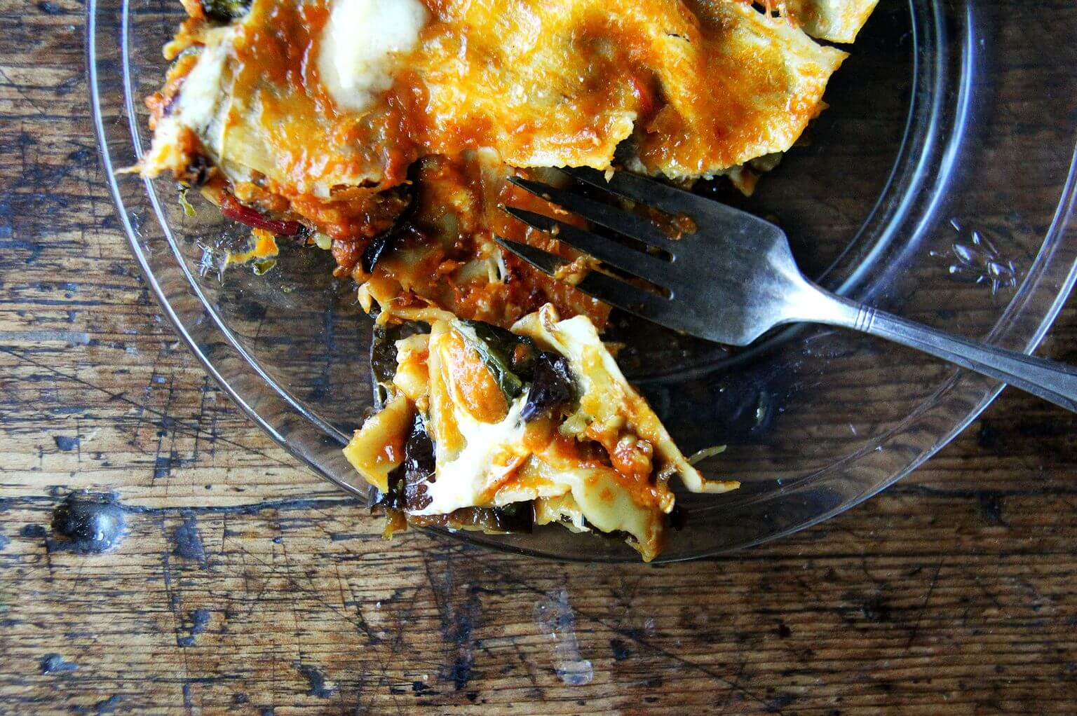 one bite of eggplant and Swiss chard lasagna