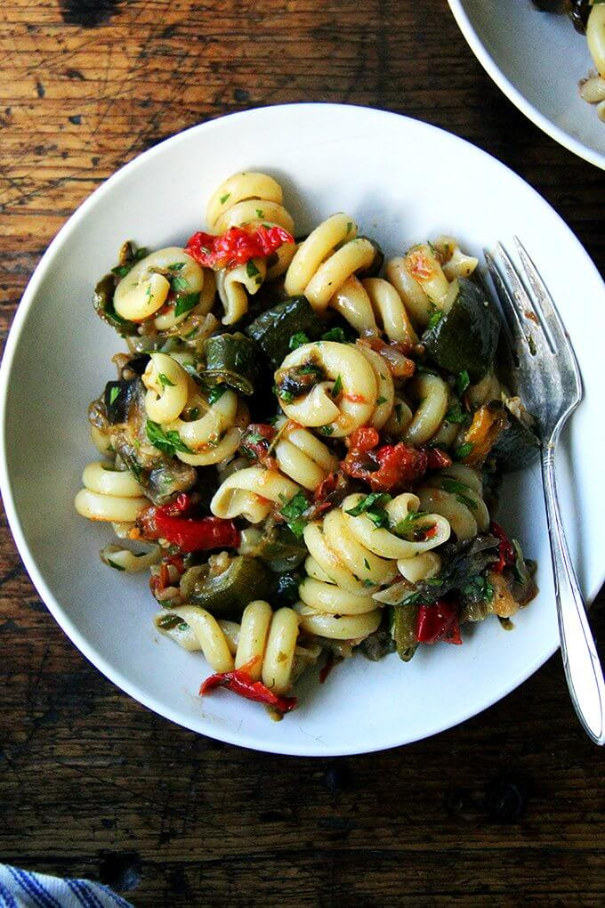 What I love about this roasted ratatouille's flavor is the subtle bite lent by the balsamic vinegar, which evokes eggplant caponata though the sharpness here is more mellow. It is irresistible. // alexandracooks.com