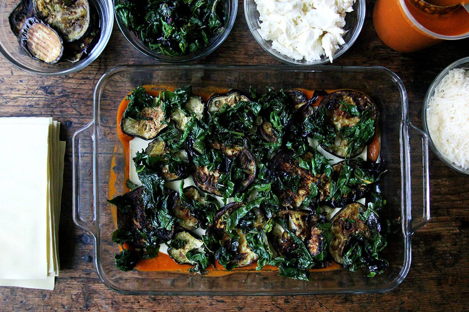 A layer of vegetables in roasted eggplant Swiss chard lasagna
