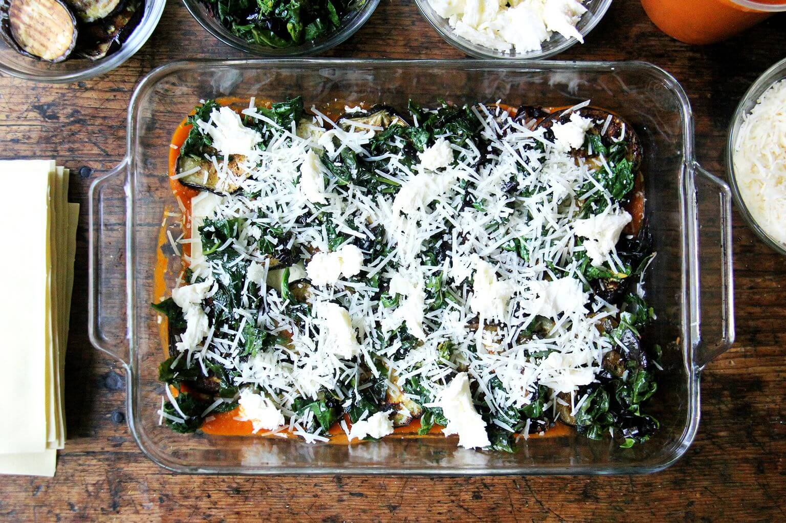 A layer of cheese in roasted eggplant Swiss chard lasagna