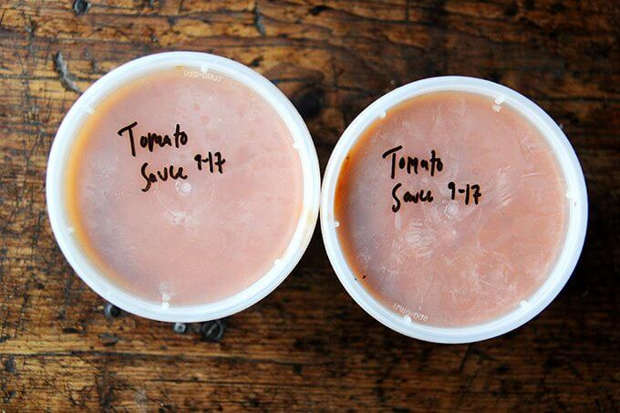 Two quarts of tomato sauce, dated.