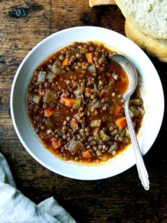A bowl of vegan, one-pot lentil soup.