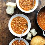 Curried chickpea and lentil soup.