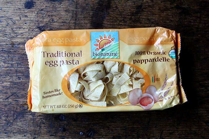 A package of pappardelle pasta.