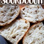 Cut sourdough loaf.