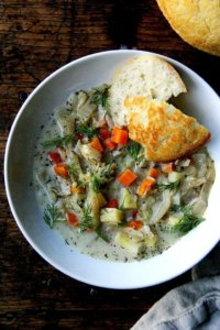 I love this cabbage soup for its texture and flavor: slightly creamy, loaded with vegetables, infused subtly with caraway, whose citrusy notes along with the vinegar pair so well with the cabbage and other vegetables, offering a much needed acidic counterpoint. Dill, too, which I just learned is in the same family as caraway, brightens the stewy flavors just before serving. // alexandracooks.com