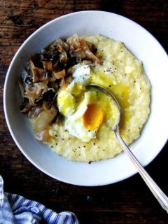 Friends, roasting polenta in the oven is a game changer — it frees up your cooktop and, more important, YOU. While the polenta bubbles away in the oven, you can sauté greens or poach eggs or steam broccoli or take a bath give the kids a bath, etc. No need to worry if the polenta is sticking to the pot, running out of liquid—in the oven it cooks slowly and evenly. It's the easiest thing in the world, and this time of year, I could eat it with everything // alexandracooks.com