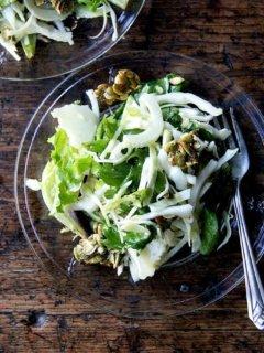 Fall salad with pepitas and manchego.