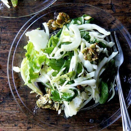 Fall Salad with Cabbage, Fennel, Manchego & Candied Pepitas