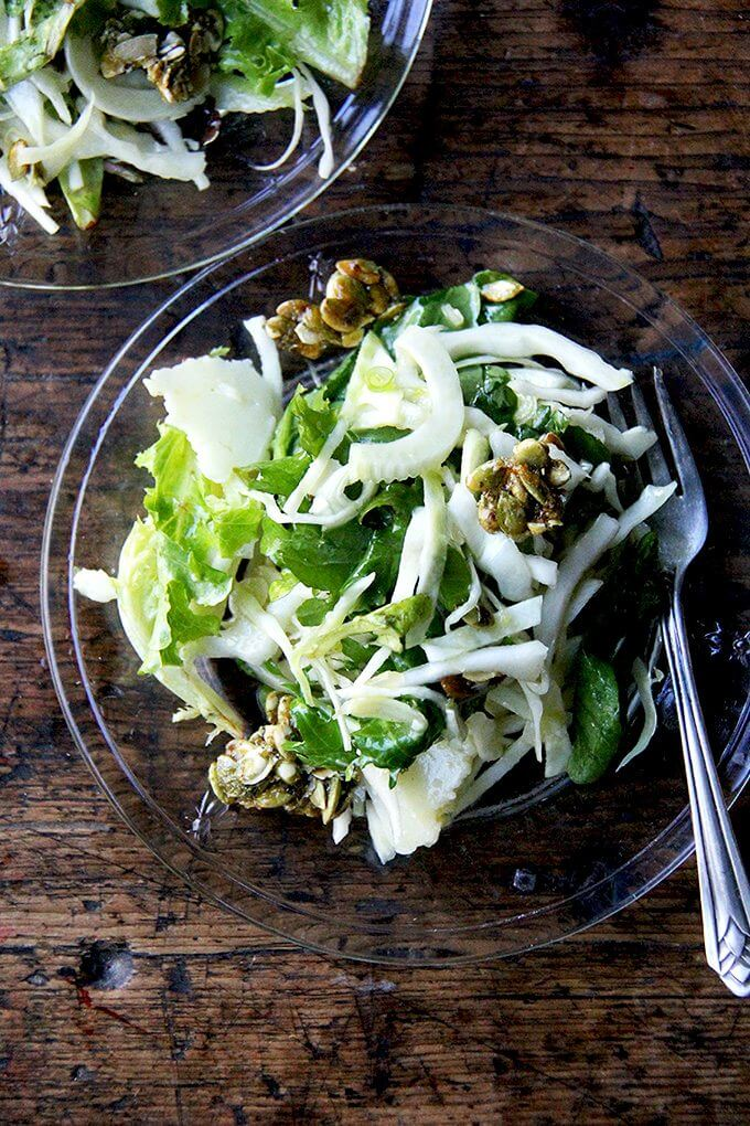 I don't think a fall salad needs to be anything more than greens plus a light dressing, but if you're up for taking it a step further, this is an irresistible option. // alexandracooks.com
