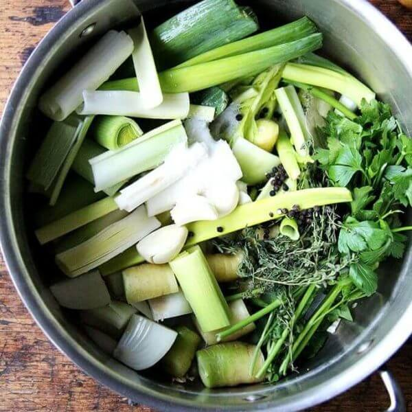 A pot of homemade vegetable stock.