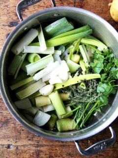 A pot of vegetables ready to be simmered into broth.