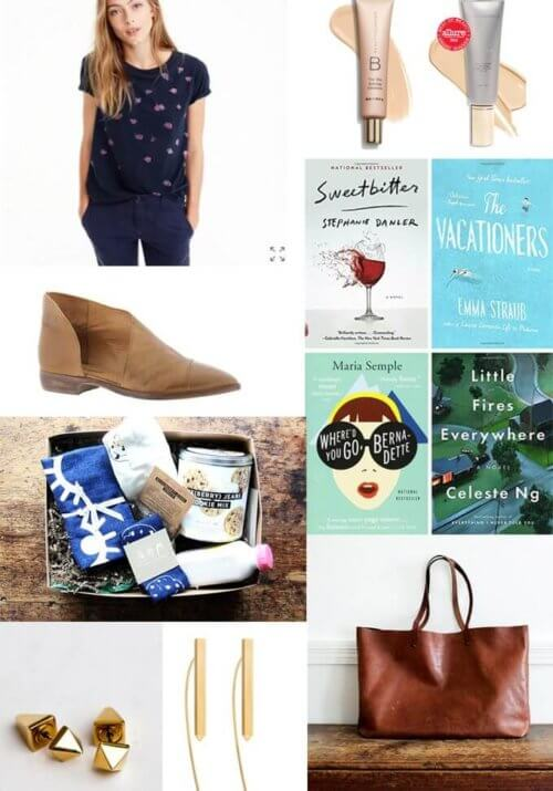 Here are ideas for seven gifts for her, including earrings, shoes, books, and more! // alexandracooks.com