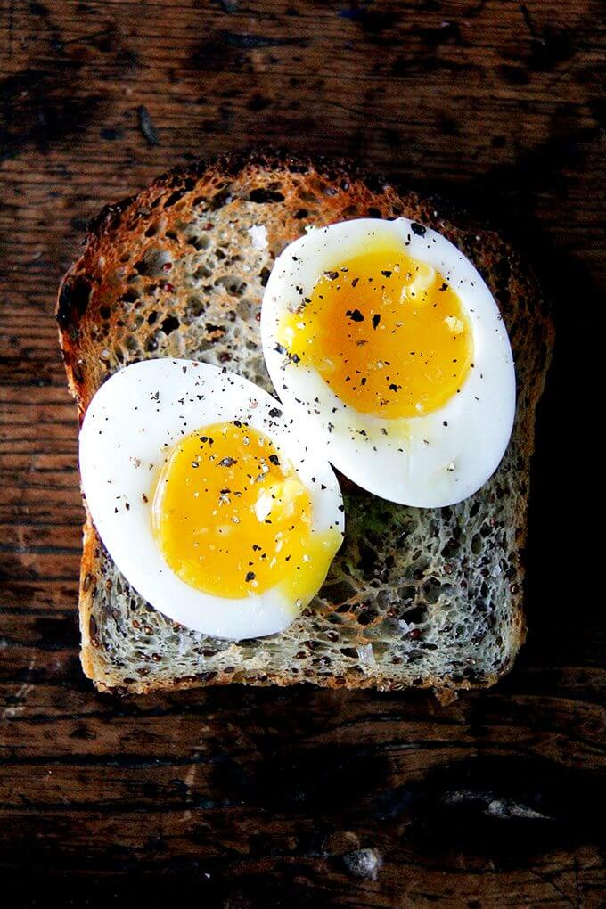 Perfect Instant Pot soft-boiled eggs on toasted quinoa-flax bread.