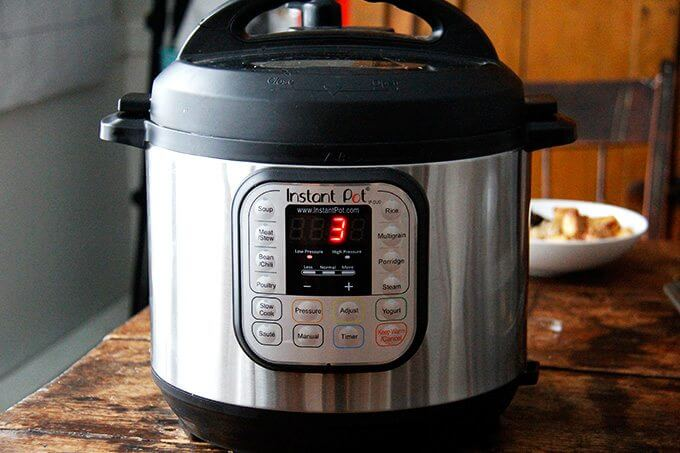 Instant Pot set to 3 minutes, low pressure, manual.