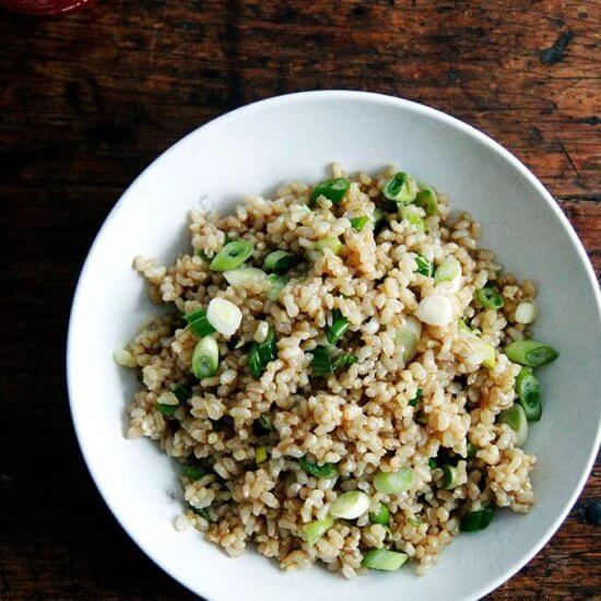 Perfect Instant Pot Brown Rice With Sesame, Soy and Scallions